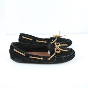 Lucky Brand Black Suede Moccasins Loafers 10